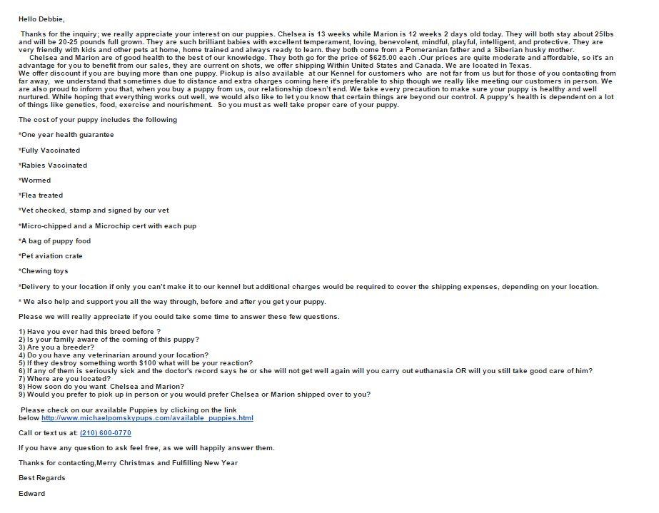 Pomsky Scam Email 1 - Pomeranian Husky Scam