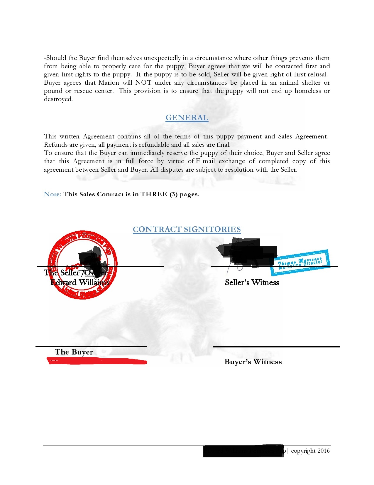 Ed Williams Pomsky Contract