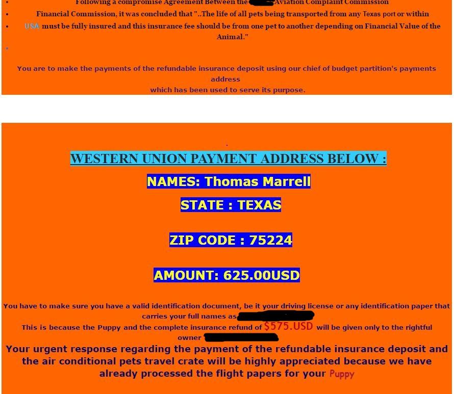 Pomsky Scam shipping email - Pomeranian Husky Scam